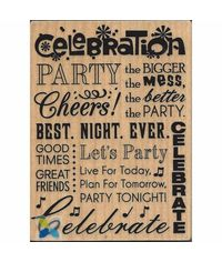 """""""Celebrate"""" Rubber Wood Stamp"""