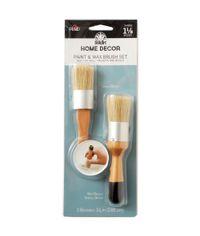 FolkArt Home Decor Paint & Wax Brush Set 1-1/8 inch