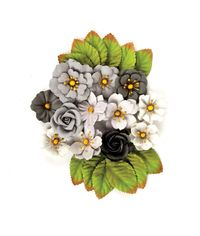 Black Marble Flowers Rose Quar
