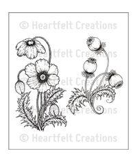 Blazing Poppy Stems - Stamp
