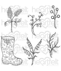 Rain Boots and Blossoms - Stamp