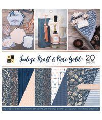 "Indigo Kraft & Rose Gold - 12""X12"" Paper Pad"