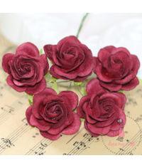 Curved Roses 35 MM - Dark Maroon