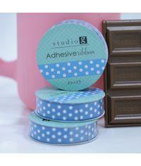 Blue / White Dot - Adhesive Ribbon