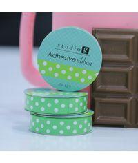 Green / White Dot - Adhesive Ribbon