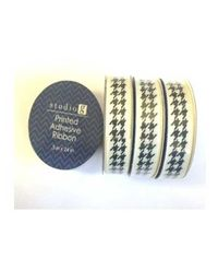 Printed Ribbon Black & White Pattern - Studio G Adhesive