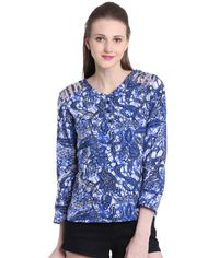 13c8c20c1a4307 Orphee Women Blue Printed Casual Top