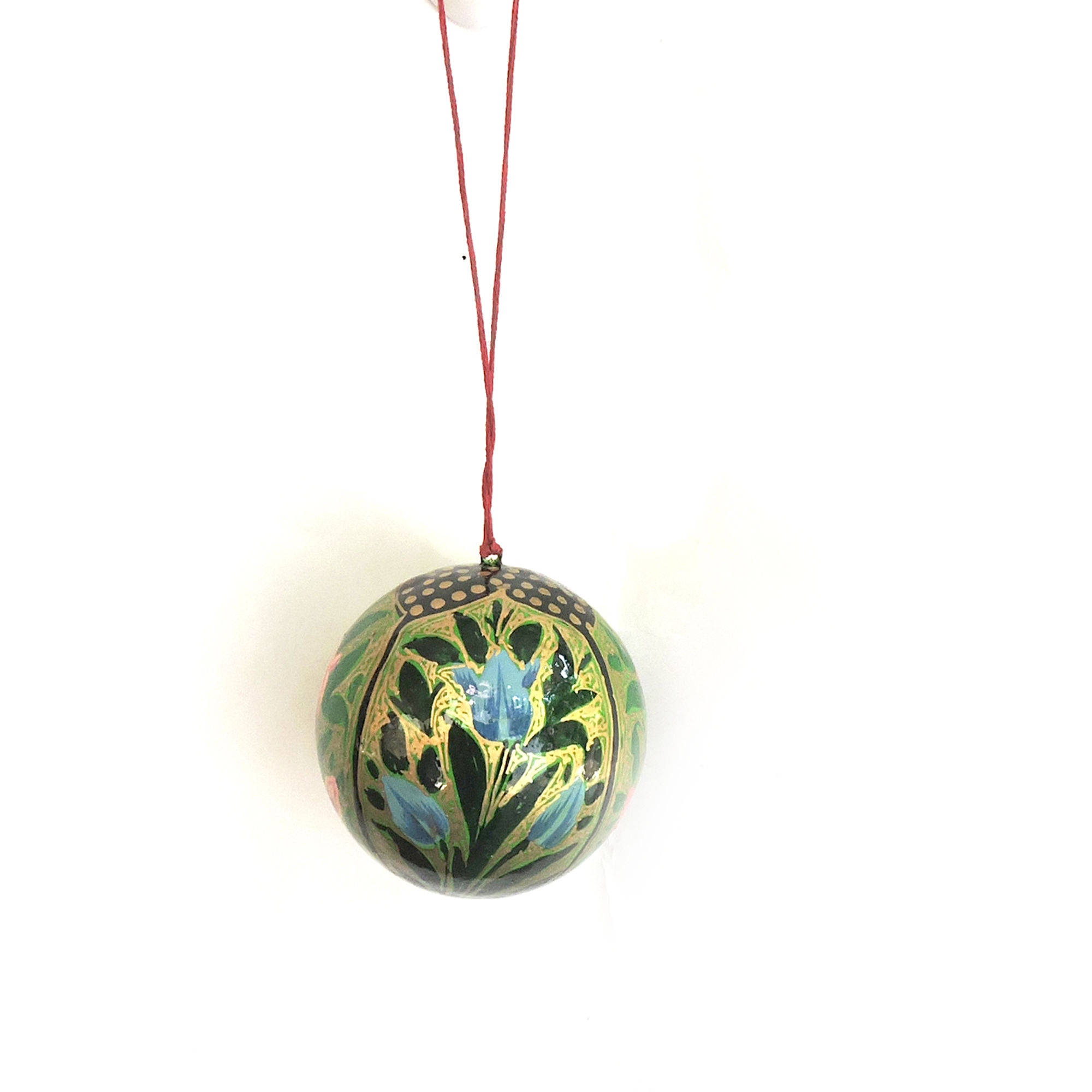 Kashmiri Art Paper Mache Hanging Ball Decor Item Multicolor Small