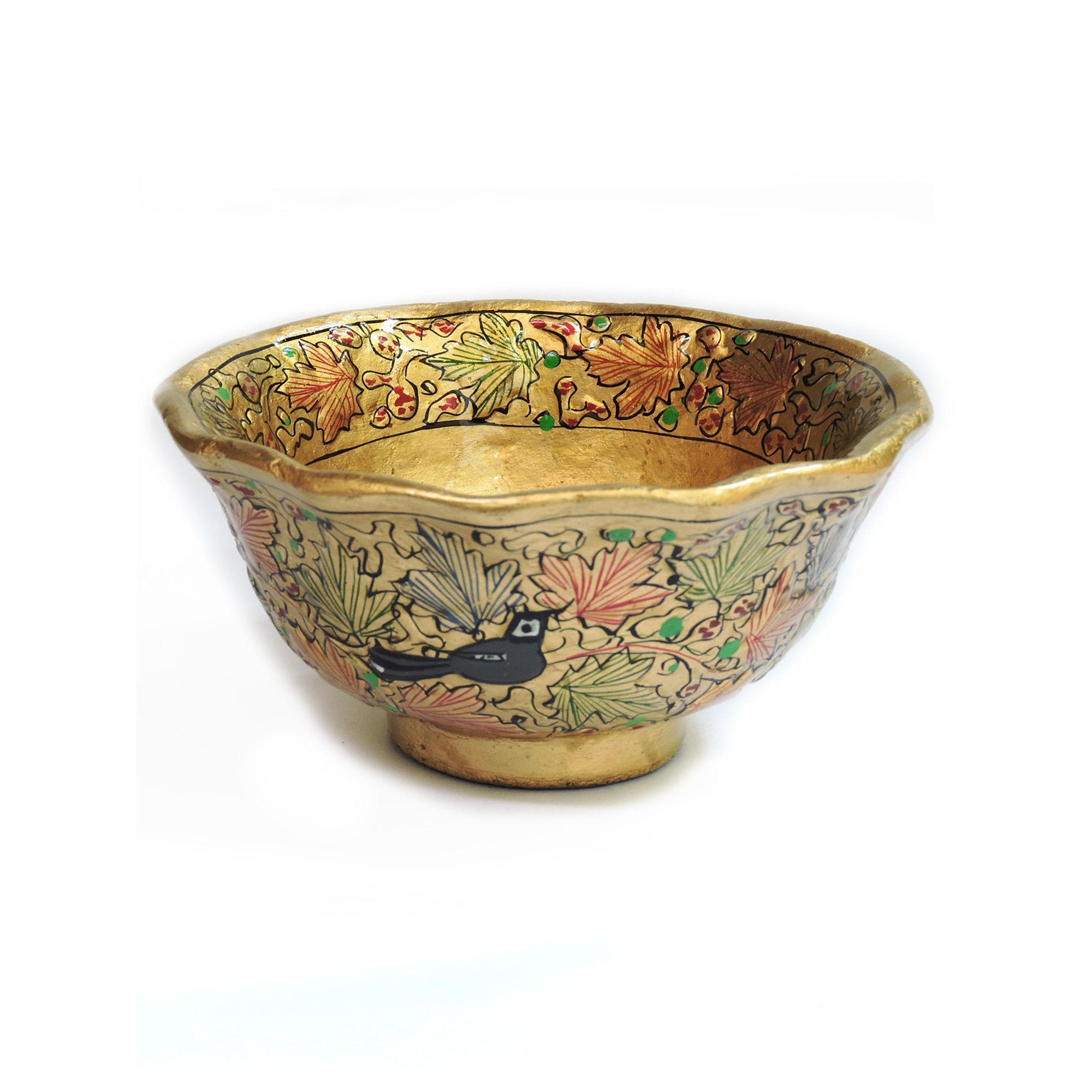 Kashmiri Art Paper Mache Gift Bowl Show Piece Decor Item Multicolor