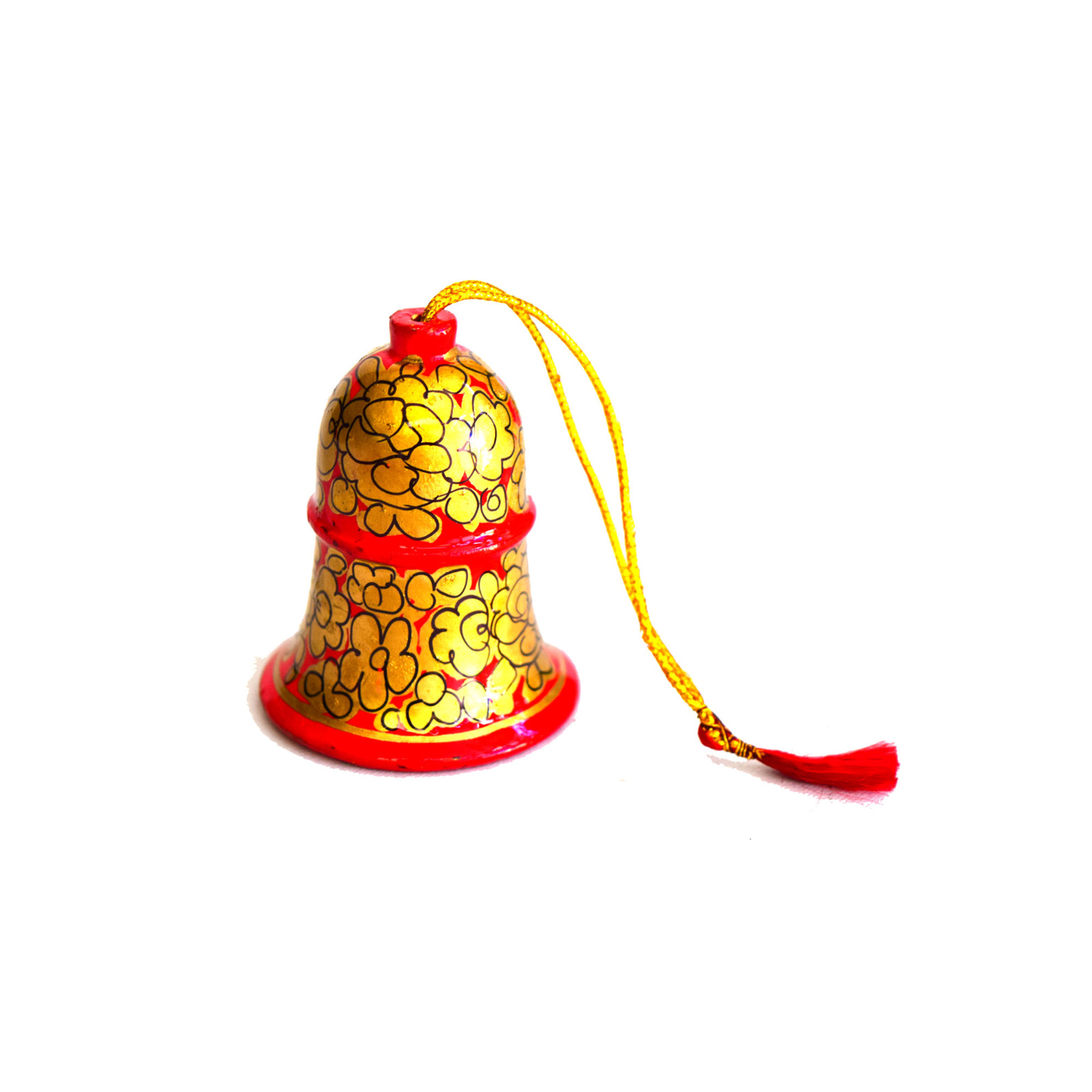 Kashmiri Beautiful Decorative Bell,  Small, Red with Golden Flowers