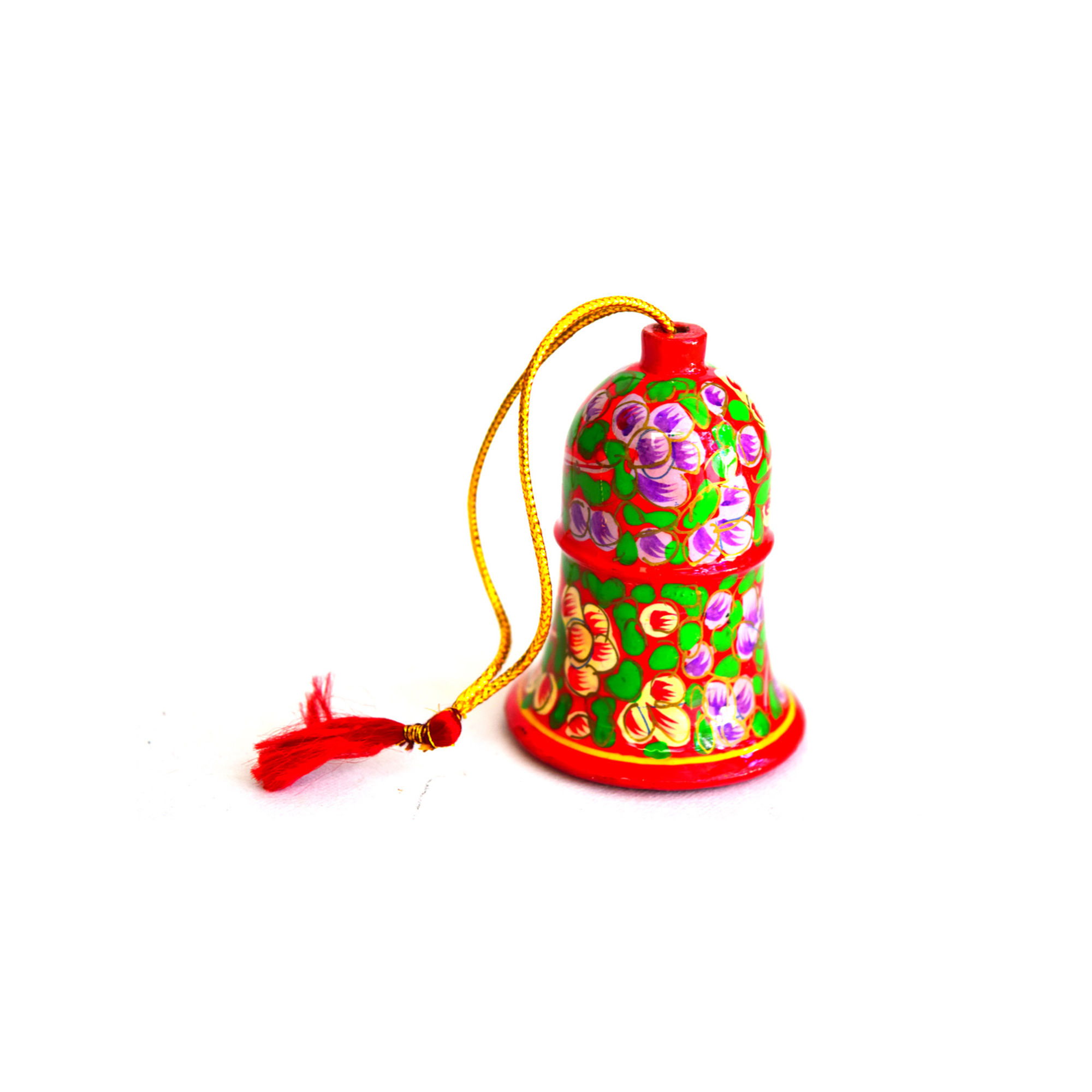 Kashmiri Beautiful Decorative Bell,  Small, Red with Yellow fill Flowers