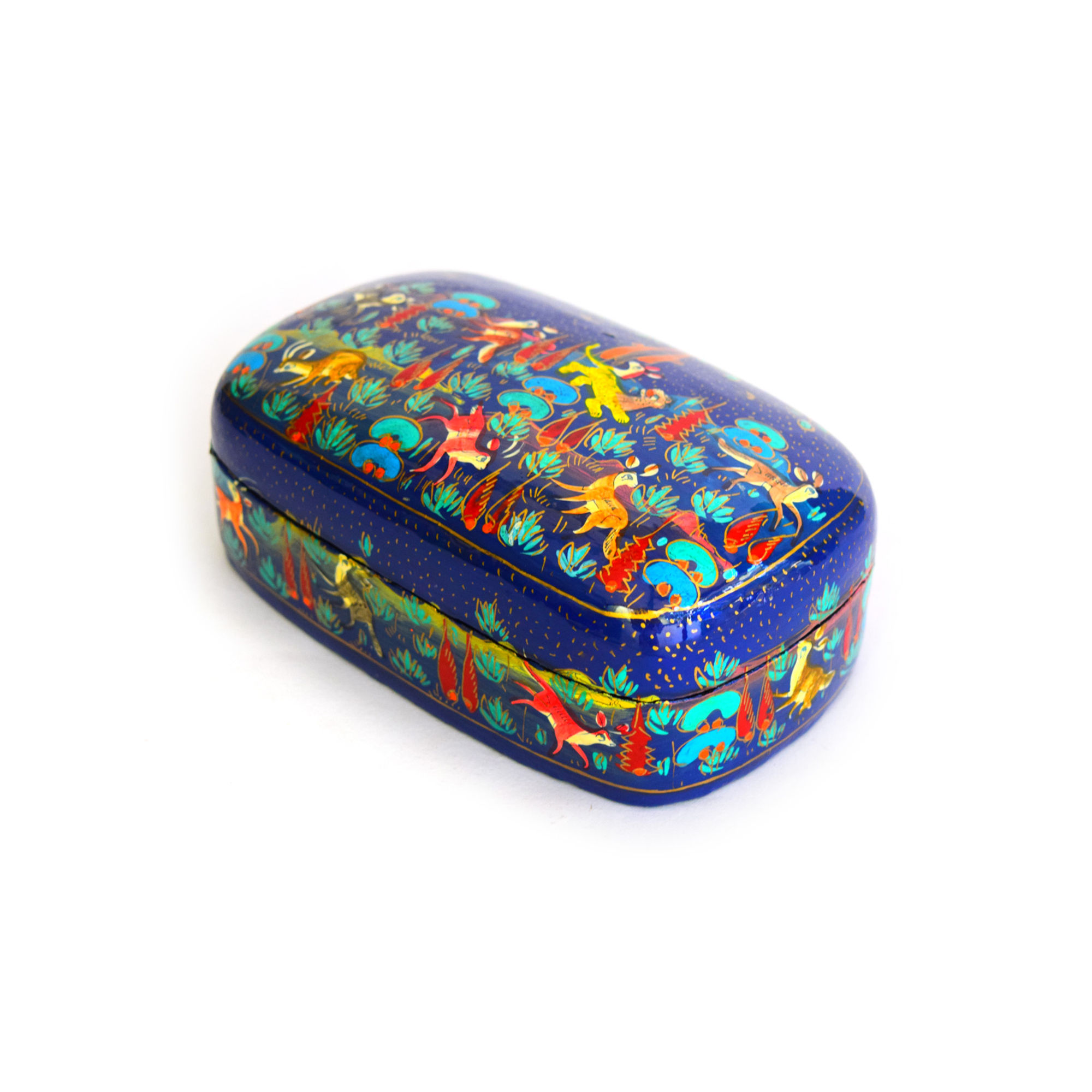 Kashmiri Beautiful Decorative Mater Box, Blue animal design