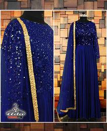 Navy Blue Embroidered Anarkali Dress