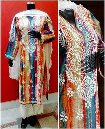Exclusive Multicolor Lucknowi Chikan Dress