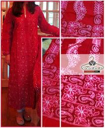 Exclusive Red Lucknowi Chikan Kurta / Bottom Dress
