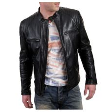 BLACK SLIM FIT BIKER FAUX LEATHER JACKET