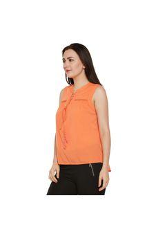Orange Solid Top with Tie-up Neck