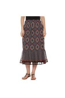 Multicolor Printed Midi Skirt