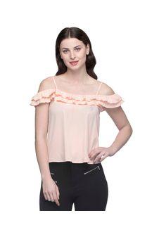 Women Peach Flared Off Shoulder Top