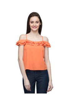 Women Orange Flared Off Shoulder Top