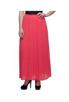 Women Pink Skirt With Embroidered Waistline