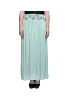 Women Light Green Skirt With Embroidered Waistline