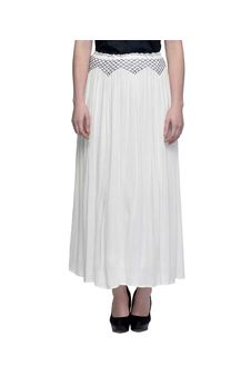 Women Off White Skirt With Embroidered Waistline