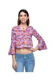 Women purple floral printed crop top