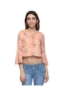 Women Peach Floral Printed Crop Top