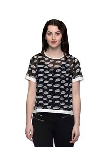 Printed Black Top With White Piping