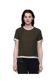 Solid Khaki Top With White Piping