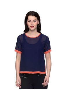 Solid Navy Blue Top With Orange Piping