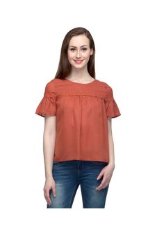 Solid Orange Top With Short Bell Sleeves