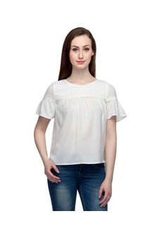 Solid White Top With Short Bell Sleeves