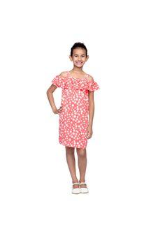 Girls Printed Cold-Shoulder Dress