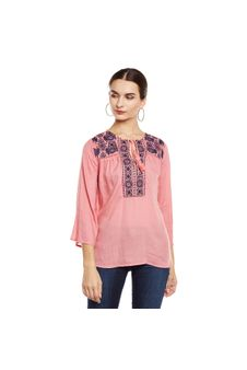 Embroidered Tie-up Neck Top