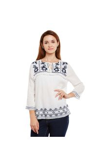 White Embroidered Long Sleeve Top