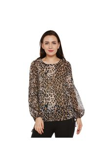 Multicolor Animal Print Sheer Top