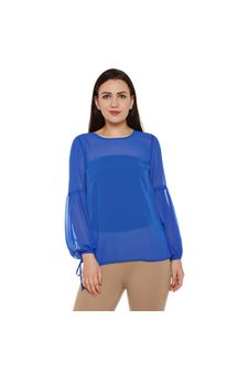 Royal Blue Solid Sheer Top