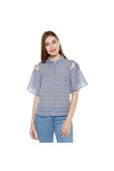Blue Print Cold Shoulder Shirt