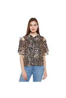 Animal Print Cold Shoulder Shirt
