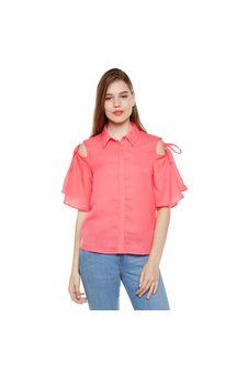 Red Solid Cold Shoulder Shirt