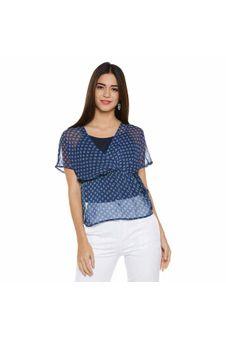 Blue Printed Sheer Top