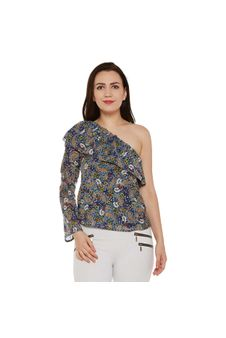Multicolor Floral Print One-shoulder Top