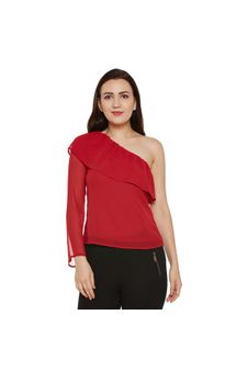 Red Solid One-shoulder Top