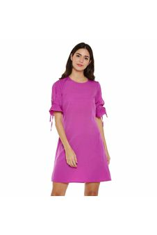 Pink Solid Shift Dress
