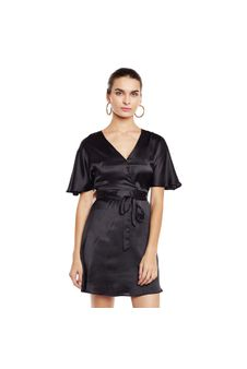 Black Solid Wrap Dress