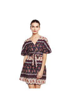 Multi Print Wrap Dress