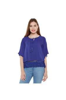 Blue Lace Top With Tussles