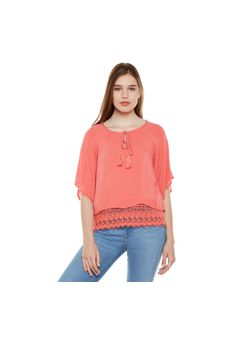 Coral Lace Top With Tussles